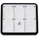6 Pendant / Charm Stackable Tray, Black with White Pads
