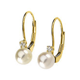 Akoya Cultured Pearl & Diamond Lever Back Earrings
