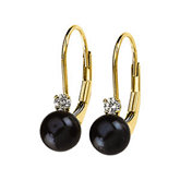 Diamond & Black Pearl Lever Back Earring