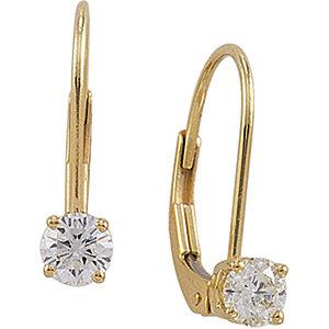 Diamond Solitaire Lever<br> Back Earrings