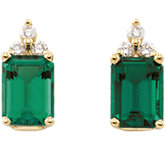 Chatham Created Emerald & Diamond Earrings