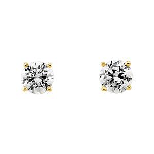 14K Yellow 5mm Cubic Zirconia Earrings