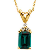 Chatham Created Emerald & Diamond Pendant