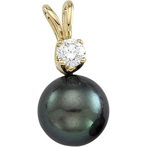 Akoya Aultured Pearl &<br> Diamond Pendant