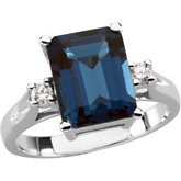 Genuine London Blue Topaz & Diamond Ring