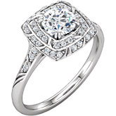 Diamond Sculptural Design Engagement Ring or Semi-mount