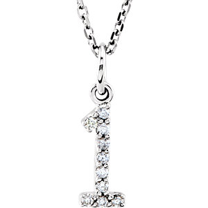 Diamond Numeric Charm or Pendant