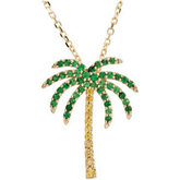Genuine Tsavorite Garnet and Yellow Sapphire Palm Tree Necklace