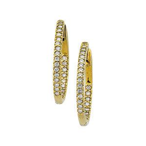 14k.co Gold -Hinged Diamond Inside/Outside Hoop Earring