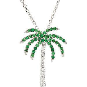 Genuine Tsavorite Garnet and Diamond Palm Tree Necklace