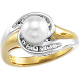 Two Tone Pearl & Diamond Ring