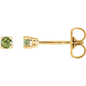 14kt Yellow  .5mm Round Peridot Earrings