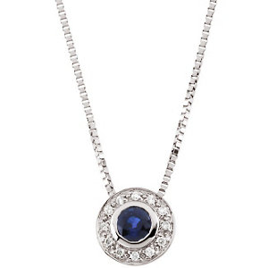 Genuine Blue Sapphire & Diamond Necklace