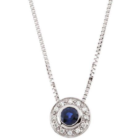 14K White Sapphire & Diamond Necklace