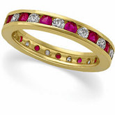 Genuine Ruby & Diamond Eternity Band