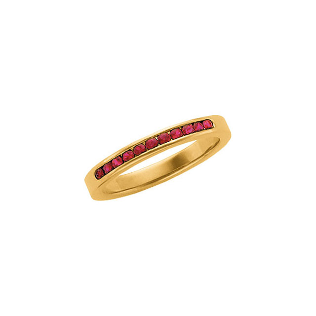 Yellow Gold and Channel Set Ruby Anniversary Band