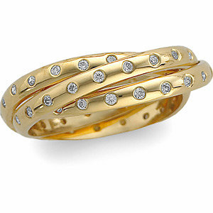 Diamond Three Band Rolling Ring