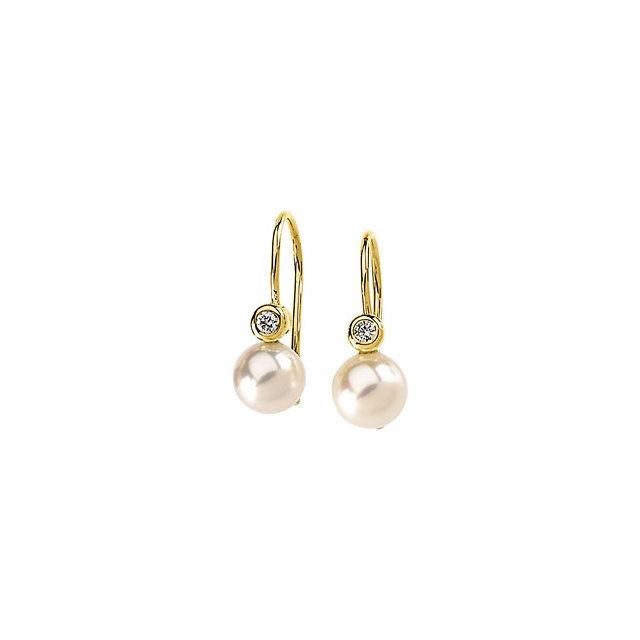 Pearl and Diamond Leverback Earrings