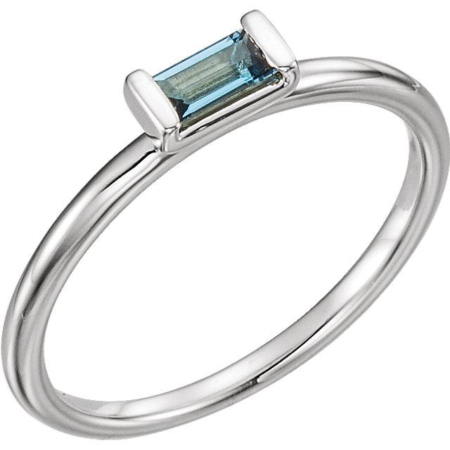 14kt White London Blue Topaz Stackable Ring