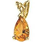 Genuine Citrine Pear Scroll Setting® Pendant