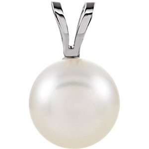 14kt White 7mm Akoya<br> Aultured Pearl Pendant