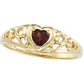 Heart-Shaped Genuine Mozambique Garnet Ring