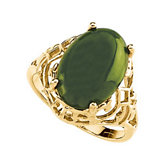Genuine Jade Cabochon Ring