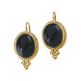 Genuine Onyx Cabochon Lever Back Earrings