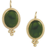 Genuine Jade Cabochon Earrings