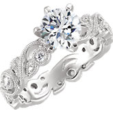 Diamond Semi-mount Floral Engagement Ring