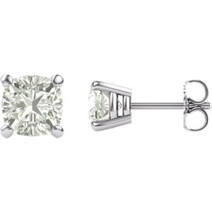 Created Moissanite Antique Square Stud Earrings