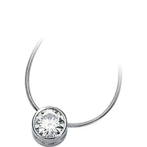 Created Moissanite Pendant Slide Necklace