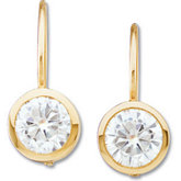 Created Moissanite Solitaire Lever Back Earrings