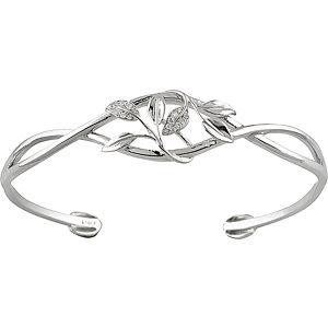 14K White .05 CTW Diamond Leaf Design Cuff Bracelet