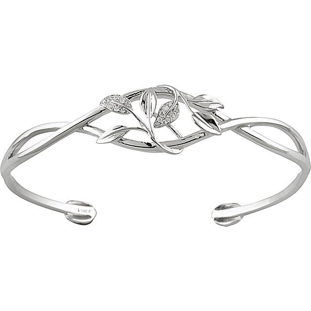 14K White .05CTW Diamond Leaf Design Cuff Bracelet