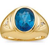 Gents Genuine London Blue Topaz & Diamond Ring