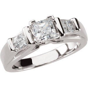 Sterling Silver Cubic Zirconia & 1/5 CTW Diamond Engagement Ring
