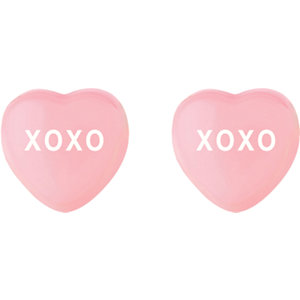 Light Pink Enamel XOXO Heart Shaped Earrings Ref 85510111