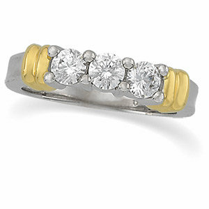 3/4 CTW Diamond 3-Stone Two-Tone Ring