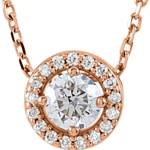 14kt Rose 1/4 ATW Diamond<br> Halo-Style 16