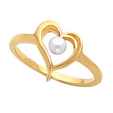 Heart Ring Mounting for 3.5 mm Pearl