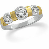 3-Stone Anniversary Ring Mounting for Round Gemstones