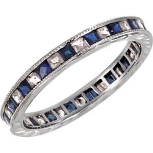Sapphire & Diamond Hand Engraved Eternity Band