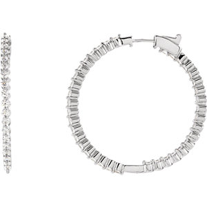Cubic Zirconia Inside/Outside Hoop Earrings