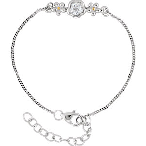 "Sterling Silver BFlower™ White CZ 6.5-7.5"" Bracelet"