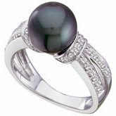 Black Freshwater Cultured Pearl & Diamond Split-Shank Ring