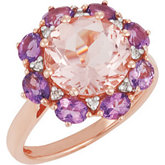 Genuine Morganite, Amethyst and Diamond Ring