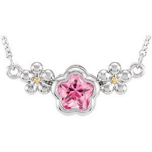 """Sterling Silver ROSE Cubic Zirconia BFlower™ 15-17"""" Necklace with Box"""