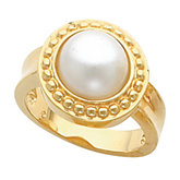 Bead Trimmed Ring Mounting for Mabe Pearl