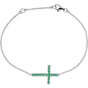 "Sterling Silver Green Cubic Zirconia Sideways Cross 8"" Bracelet"